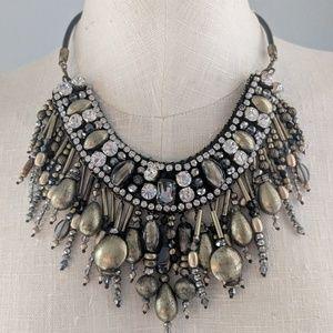 Chico's 30th anniversary gold & black bib necklace